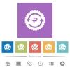 Ruble pay back guarantee sticker flat white icons in square backgrounds - Ruble pay back guarantee sticker flat white icons in square backgrounds. 6 bonus icons included.