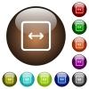 Adjust object width color glass buttons - Adjust object width white icons on round color glass buttons
