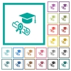 Graduation ceremony flat color icons with quadrant frames - Graduation ceremony flat color icons with quadrant frames on white background