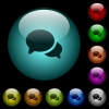 Discussion icons in color illuminated glass buttons - Discussion icons in color illuminated spherical glass buttons on black background. Can be used to black or dark templates