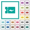 Service discount coupon flat color icons with quadrant frames - Service discount coupon flat color icons with quadrant frames on white background