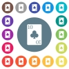 Ten of clubs card flat white icons on round color backgrounds - Ten of clubs card flat white icons on round color backgrounds. 17 background color variations are included.