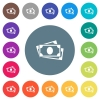 More banknotes flat white icons on round color backgrounds - More banknotes flat white icons on round color backgrounds. 17 background color variations are included.