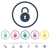 Locked round padlock with keyhole flat color icons in round outlines - Locked round padlock with keyhole flat color icons in round outlines. 6 bonus icons included.