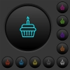 Birthday cupcake dark push buttons with color icons - Birthday cupcake dark push buttons with vivid color icons on dark grey background
