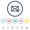 Undelete mail flat color icons in round outlines - Undelete mail flat color icons in round outlines. 6 bonus icons included.