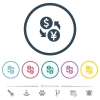 Dollar Yen money exchange flat color icons in round outlines - Dollar Yen money exchange flat color icons in round outlines. 6 bonus icons included.