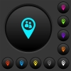 Fleet tracking dark push buttons with color icons - Fleet tracking dark push buttons with vivid color icons on dark grey background