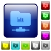 FTP statistics color square buttons - FTP statistics icons in rounded square color glossy button set