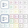 Traceroute remote computer outlined flat color icons - Traceroute remote computer color flat icons in rounded square frames. Thin and thick versions included.