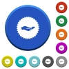 Hand in sticker beveled buttons - Hand in sticker round color beveled buttons with smooth surfaces and flat white icons