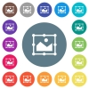 Image free transform flat white icons on round color backgrounds - Image free transform flat white icons on round color backgrounds. 17 background color variations are included.
