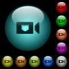 IP camera icons in color illuminated glass buttons - IP camera icons in color illuminated spherical glass buttons on black background. Can be used to black or dark templates