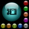 Fueling discount coupon icons in color illuminated glass buttons - Fueling discount coupon icons in color illuminated spherical glass buttons on black background. Can be used to black or dark templates