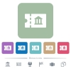 Museum discount coupon flat icons on color rounded square backgrounds - Museum discount coupon white flat icons on color rounded square backgrounds. 6 bonus icons included