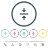 Vertical align center flat color icons in round outlines - Vertical align center flat color icons in round outlines. 6 bonus icons included.