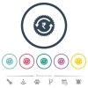 Rupee pay back guarantee sticker flat color icons in round outlines - Rupee pay back guarantee sticker flat color icons in round outlines. 6 bonus icons included.