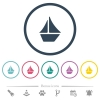 Sailboat flat color icons in round outlines - Sailboat flat color icons in round outlines. 6 bonus icons included.