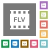 FLV movie format square flat icons - FLV movie format flat icons on simple color square backgrounds
