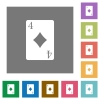 Four of diamonds card square flat icons - Four of diamonds card flat icons on simple color square backgrounds