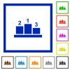 Winners podium with outside numbers flat color icons in square frames on white background - Winners podium with outside numbers flat framed icons