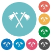 Two tomahawks flat round icons - Two tomahawks flat white icons on round color backgrounds