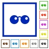 Sunglasses flat color icons in square frames on white background - Sunglasses flat framed icons