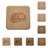 Steak wooden buttons - Steak on rounded square carved wooden button styles
