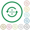 Adjust refresh rate flat icons with outlines - Adjust refresh rate flat color icons in round outlines on white background