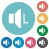 Left audio channel flat round icons - Left audio channel flat white icons on round color backgrounds