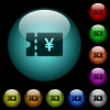 Japanese Yen discount coupon icons in color illuminated glass buttons - Japanese Yen discount coupon icons in color illuminated spherical glass buttons on black background. Can be used to black or dark templates