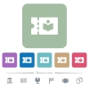 Library discount coupon flat icons on color rounded square backgrounds - Library discount coupon white flat icons on color rounded square backgrounds. 6 bonus icons included