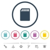 SD memory card flat color icons in round outlines - SD memory card flat color icons in round outlines. 6 bonus icons included.