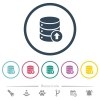 Database move up flat color icons in round outlines - Database move up flat color icons in round outlines. 6 bonus icons included.