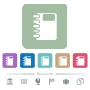 Spiral notebook flat icons on color rounded square backgrounds - Spiral notebook white flat icons on color rounded square backgrounds. 6 bonus icons included