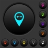 GPS map location distance dark push buttons with color icons - GPS map location distance dark push buttons with vivid color icons on dark grey background
