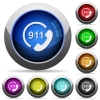 Emergency call 911 round glossy buttons - Emergency call 911 icons in round glossy buttons with steel frames