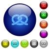 Salted pretzel color glass buttons - Salted pretzel icons on round color glass buttons