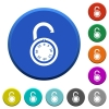 Unlocked round combination lock beveled buttons - Unlocked round combination lock round color beveled buttons with smooth surfaces and flat white icons
