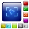 Camera brightness setting color square buttons - Camera brightness setting icons in rounded square color glossy button set