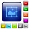 Image free transform color square buttons - Image free transform icons in rounded square color glossy button set