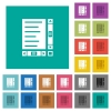 Document with content and scroll bars square flat multi colored icons - Document with content and scroll bars multi colored flat icons on plain square backgrounds. Included white and darker icon variations for hover or active effects.