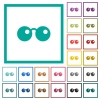 Sunglasses flat color icons with quadrant frames - Sunglasses flat color icons with quadrant frames on white background