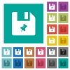 Pin file square flat multi colored icons - Pin file multi colored flat icons on plain square backgrounds. Included white and darker icon variations for hover or active effects.
