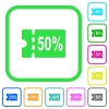 50 percent discount coupon vivid colored flat icons - 50 percent discount coupon vivid colored flat icons in curved borders on white background