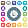 24 hours seven service sticker flat white icons on round color backgrounds - 24 hours seven service sticker flat white icons on round color backgrounds. 17 background color variations are included.