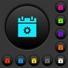 Schedule settings dark push buttons with color icons - Schedule settings dark push buttons with vivid color icons on dark grey background