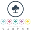 Leafy tree flat color icons in round outlines - Leafy tree flat color icons in round outlines. 6 bonus icons included.