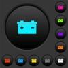 Accumulator dark push buttons with vivid color icons on dark grey background - Accumulator dark push buttons with color icons