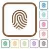 Fingerprint simple icons - Fingerprint simple icons in color rounded square frames on white background